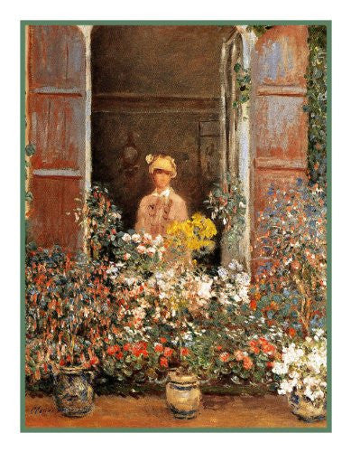 Camille at the Window inspired by Claude Monet's impressionist painting Counted Cross Stitch or Counted Needlepoint Pattern - Orenco Originals LLC