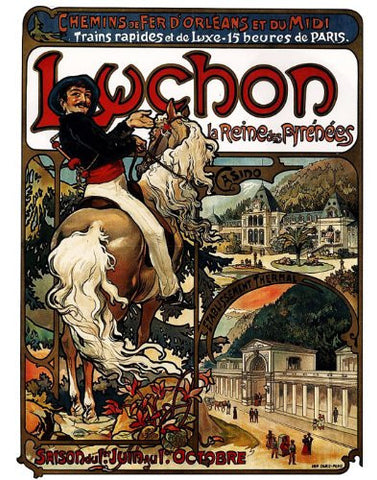 Luchon Train Station by Alphonse Mucha Counted Cross Stitch Pattern