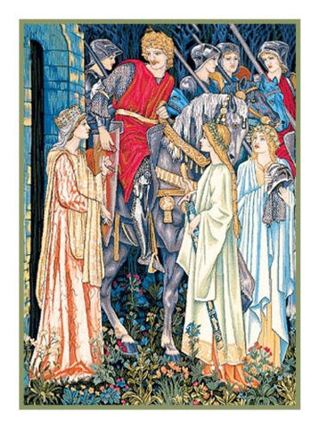 Holy Grail Arming and Departure of Knights Detail William Morris Counted Cross Stitch or Counted Needlepoint Pattern