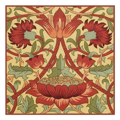 Loden in Earthtones by Arts and Crafts Movement Founder William Morris Counted Cross Stitch Pattern