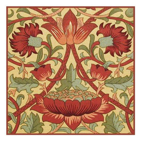 Loden in Earthtones by Arts and Crafts Movement Founder William Morris Counted Cross Stitch Pattern DIGITAL DOWNLOAD