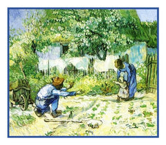 First Steps inspired by Impressionist Vincent Van Gogh's Painting Counted Cross Stitch or Counted Needlepoint Pattern
