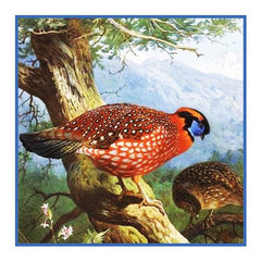 Temminks Tragopan Pheasant by Naturalist Archibald Thorburn's Bird Counted Cross Stitch or Counted Needlepoint Pattern