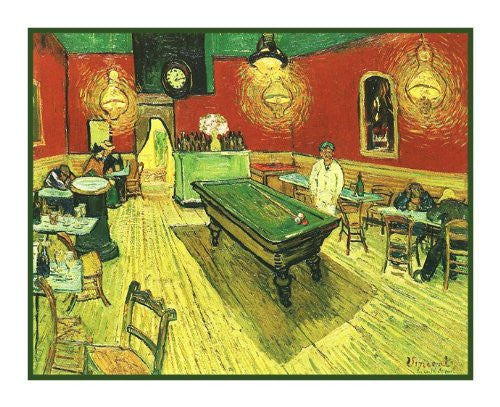 Inside the Cafe Night inspired by Impressionist Vincent Van Gogh's Painting Counted Cross Stitch or Counted Needlepoint Pattern