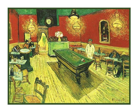 Inside the Cafe Night inspired by Impressionist Vincent Van Gogh's Painting Counted Cross Stitch Pattern