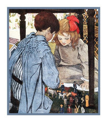 Playing Noahs Ark By Jessie Willcox Smith Counted Cross Stitch or Counted Needlepoint Pattern