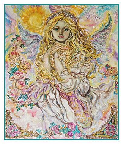 The Angel of the Archangel Raphael inspired by Yumi Sugai Counted Cross Stitch or Counted Needlepoint Pattern