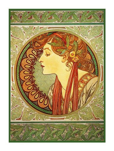 Laurel by Alphonse Mucha Counted Cross Stitch or Counted Needlepoint Pattern