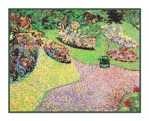 The Garden in Auvers inspired by Impressionist Vincent Van Gogh's Painting Counted Cross Stitch Pattern