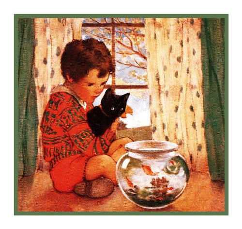 Young Boy, Kitten and The Goldfish Bowl By Jessie Willcox Smith Counted Cross Stitch or Counted Needlepoint Pattern