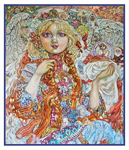 Angel Celebrating Christmas inspired by Yumi Sugai Counted Cross Stitch or Counted Needlepoint Pattern