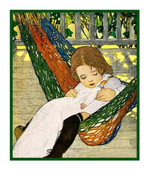 Rocking Baby Doll To Sleep By Jessie Willcox Smith Counted Cross Stitch or Counted Needlepoint Pattern