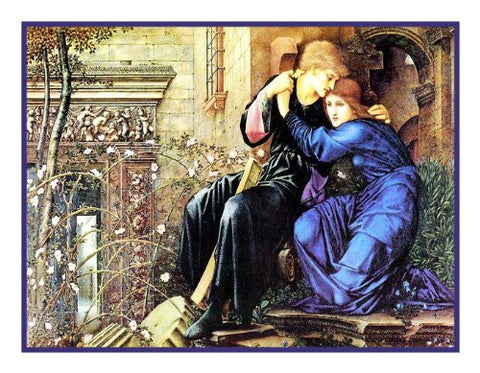 Love Among the Ruins by Arts and Crafts Edward Burne-Jones Counted Cross Stitch or Counted Needlepoint Pattern