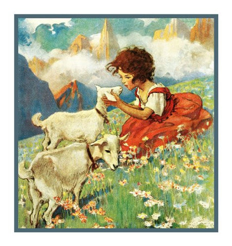 Heidi and The Lambs By Jessie Willcox Smith Counted Cross Stitch Pattern