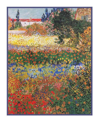 The Flower Garden inspired by Impressionist Vincent Van Gogh's Painting Counted Cross Stitch Pattern