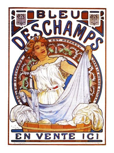 Bleu des Champs by Alphonse Mucha Counted Cross Stitch or Counted Needlepoint Pattern