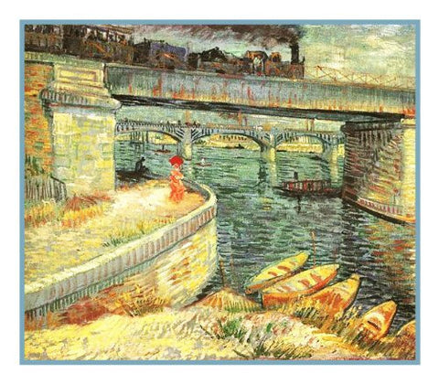 Bridge Across the Seine at Asnieres inspired by Impressionist Vincent Van Gogh's Painting Counted Cross Stitch Pattern