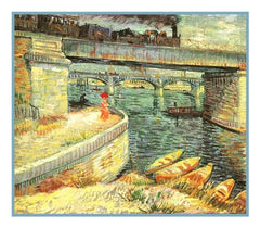 Bridge Across the Seine at Asnieres inspired by Impressionist Vincent Van Gogh's Painting Counted Cross Stitch or Counted Needlepoint Pattern