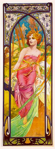 Morning Awakening by Alphonse Mucha Counted Cross Stitch Pattern