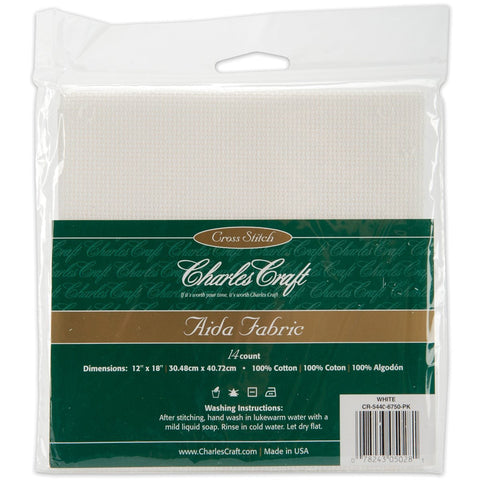 Charles Craft Gold Standard Aida Cloth 14 Count White 14-count Aida 12 inches by 18 inches