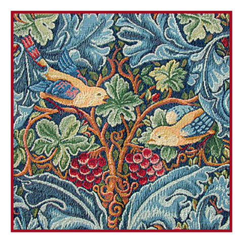 Acanthus Vine with Birds by Arts and Crafts Movement Founder William Morris Counted Cross Stitch Pattern