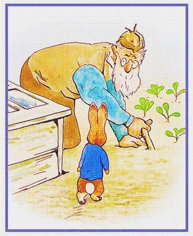 Farmer McGregor and Peter in the Garden inspired by Beatrix Potter Counted Cross Stitch Pattern