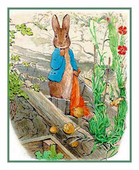 Peter Lets Go of Red Handkerchief inspired by Beatrix Potter Counted Cross Stitch or Counted Needlepoint Pattern
