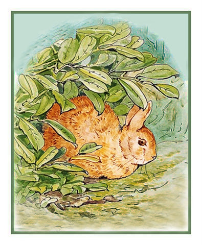 Peter Rabbit Hides in the Garden inspired by Beatrix Potter Counted Cross Stitch Pattern