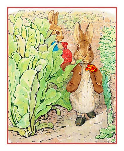 Benjamin Rabbit Nibbles Lettuce inspired by Beatrix Potter Counted Cross Stitch Pattern