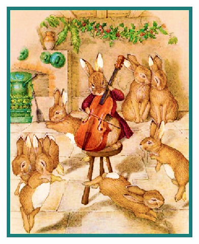 Bunny Rabbits Music For Christmas inspired by Beatrix Potter Counted Cross Stitch Pattern