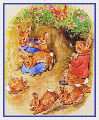 Bunny Rabbits Enjoy Family Time inspired by Beatrix Potter Counted Cross Stitch Pattern