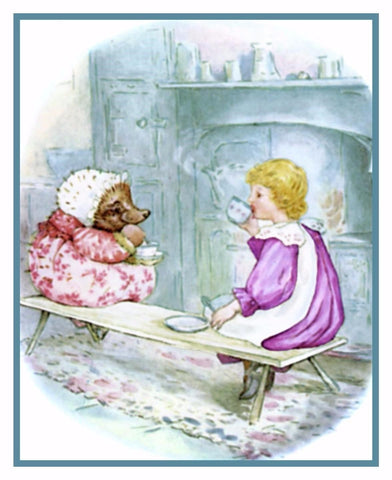 Lucie and Tiggy Have Tea inspired by Beatrix Potter Counted Cross Stitch or Counted Needlepoint Pattern