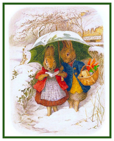 Mr and Mrs Rabbits Snow Day inspired by Beatrix Potter Counted Cross Stitch Pattern