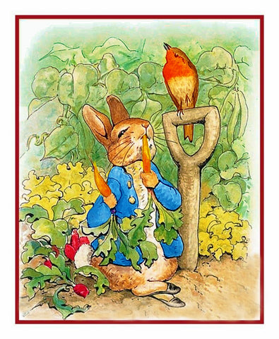 Peter Rabbit Digs in Garden inspired by Beatrix Potter Counted Cross Stitch Pattern