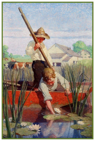 2 Boys in a Boat Punt by N.C. Wyeth Counted Cross Stitch Chart Pattern