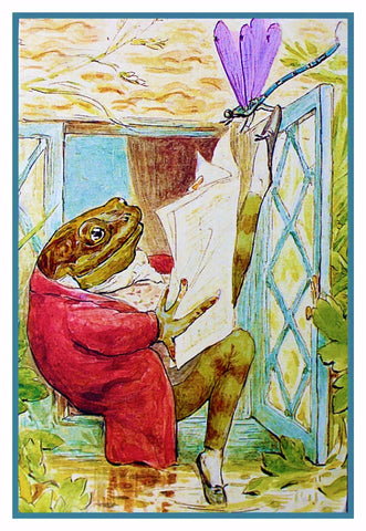 Jeremy Fischer Frog Reads The News Inspired by Beatrix Potter Counted Cross Stitch Pattern