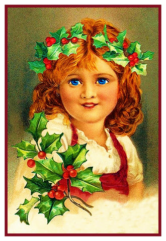 Christmas Joy Holly Girl Counted Cross Stitch Pattern DIGITAL DOWNLOAD