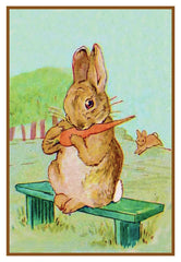 Fierce Bad Rabbit Eats a Carrot inspired by Beatrix Potter Counted Cross Stitch or Counted Needlepoint Pattern