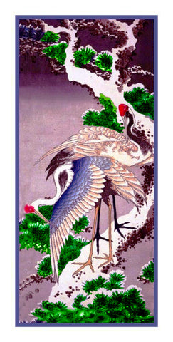 Japanese Asian Hokusai Pair of Cranes Birds Counted Cross Stitch Chart Pattern