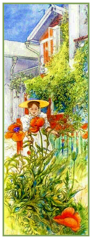 Girl in a Bonnet with Poppies by Swedish Artist Carl Larsson Counted Cross Stitch Pattern