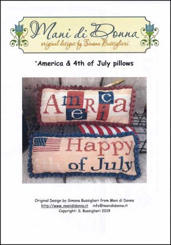 America & 4th Of July Pillow By Mani di Donna Counted Cross Stitch Pattern
