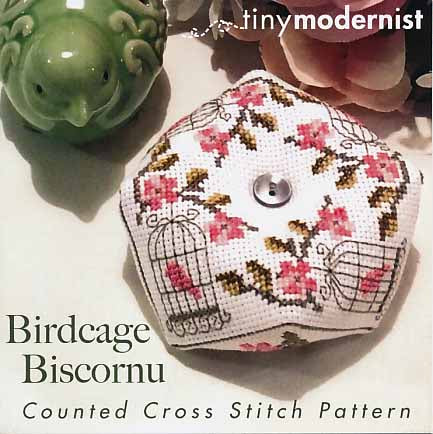 Birdcage Biscornu By The Tiny Modernist Counted Cross Stitch Pattern
