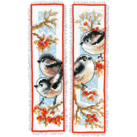 Birds & Red Berries  Vervaco Bookmark Counted Cross Stitch Kit 2.5