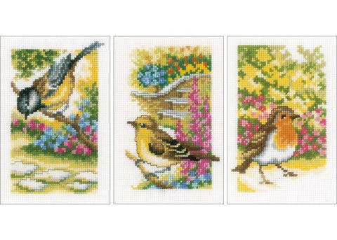 Miniature Birds in the Garden Pictures by Vervaco  Counted Cross Stitch Kit-package of 3