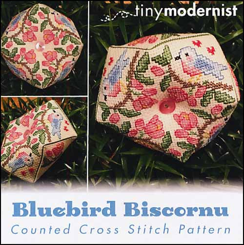 Bluebird Biscornu By The Tiny Modernist Counted Cross Stitch Pattern
