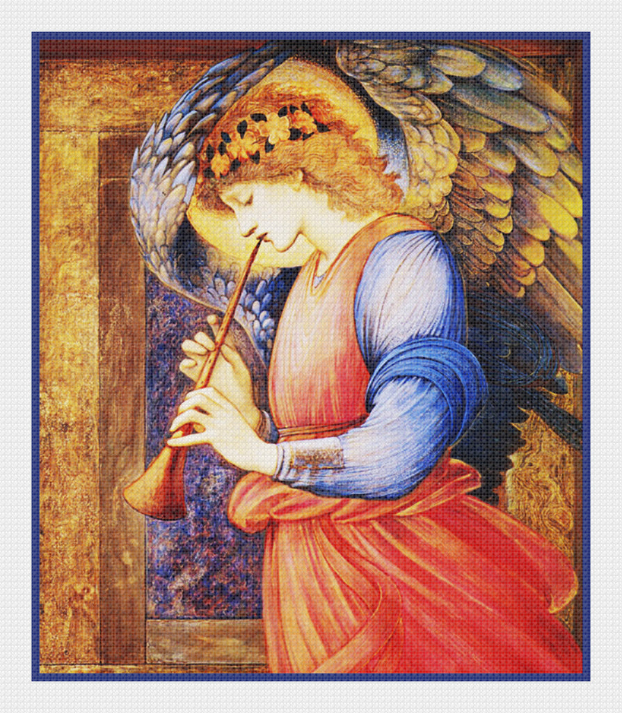 The Angel with a Flagelot by Arts and Crafts Edward Burne-Jones Counted Cross Stitch Pattern DIGITAL DOWNLOAD