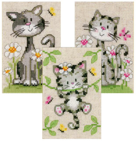 Miniature Cats and Flowers Pictures by Vervaco  Counted Cross Stitch Kit-package of 3