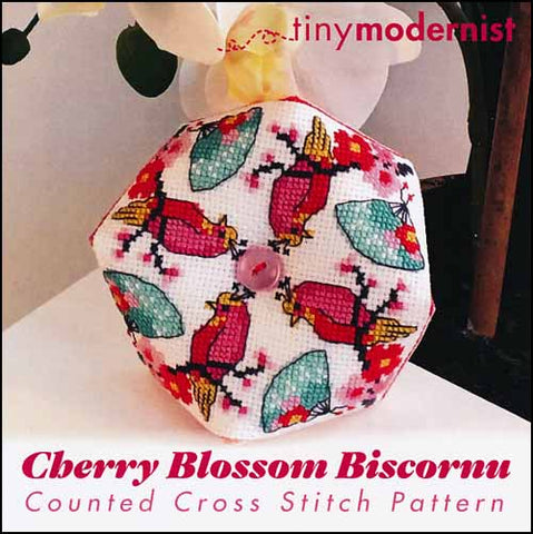 Cherry Blossom Biscornu By The Tiny Modernist Counted Cross Stitch Pattern