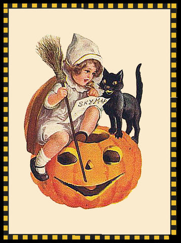 Victorian Halloween Young Girl and Black Cat Sitting on a Pumpkin Counted Cross Stitch Pattern DIGITAL DOWNLOAD