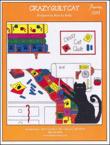 Crazy Quilt Cat by Imaginating Counted Cross Stitch Pattern